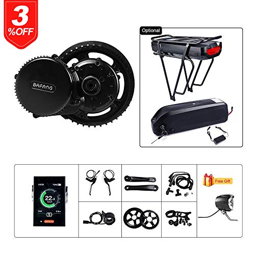 BAFANG BBS02B 48V 750W Ebike Motor with LCD Display 8fun Mid Drive Electric Bike Conversion Kit with Battery (500C Display, Motor kit+44T Chainring+Rear Battery 48V 17.5Ah)