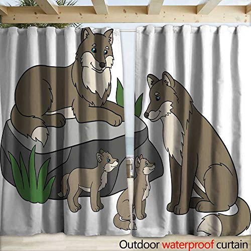 Outdoor Blackout Curtain Cartoon Animals Mother and Father Wolves with Their Cute Babies Drapery W120 x L108
