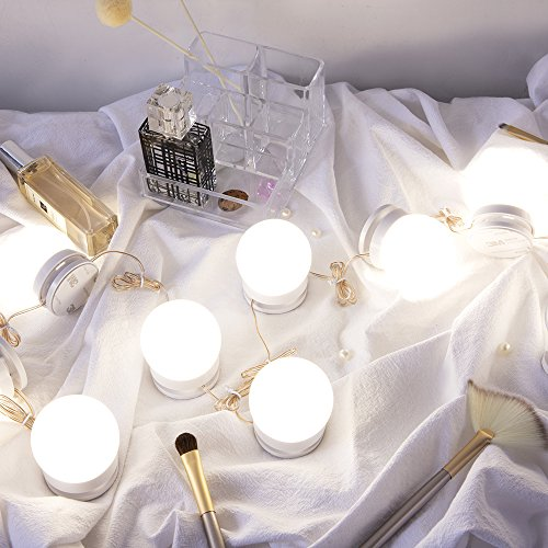 Chende LM Hollywood Style LED Kit with Dimmable Fixture Strip for Makeup Vanity Table Set in Dressing Room, Mirror Not Included (10 Light Bulbs), White by Chende (Image #2)