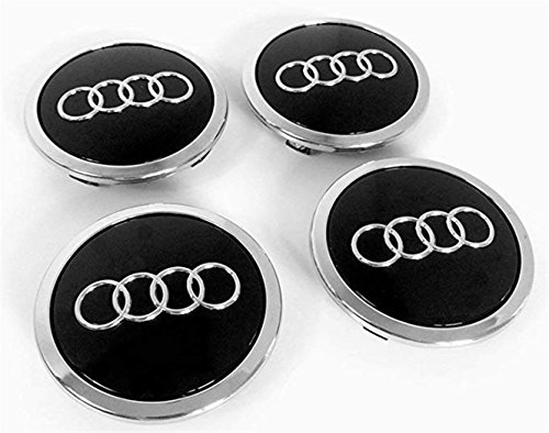 gvfdsghdgh 4 X Black Audi Alloy Wheel Centre Caps 69MM A3 A4 A5 A6 S Line TT RS Q3 Q7 ()