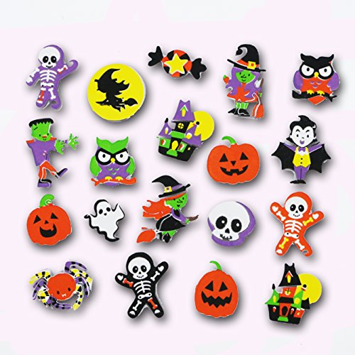 Fright Night Halloween Printed EVA Foam Craft Adhesive Shape Stickers - Assorted Styles - 45 Pieces -