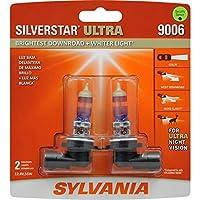 SYLVANIA - 9006 SilverStar Ultra - Bombilla halógena para faros halógenas de alto rendimiento, haz de luz alta, haz de luz baja y bombilla de repuesto para niebla, más brillante en el camino con una luz más blanca, tecnología de triple banda (contiene 2