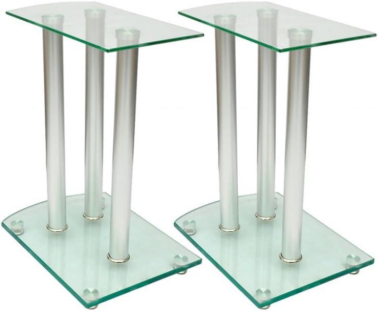 Anself Aluminum Speaker Stands Transparent Safety Glass Set of 2