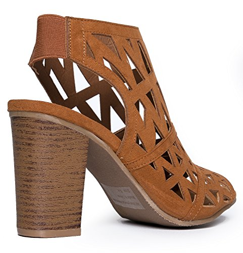 Toe Peep Elastic Slip Cut J High Wood Riviera Adams Laser Heel Suede Back Cutout Shoe Bootie On Tan gCw8A