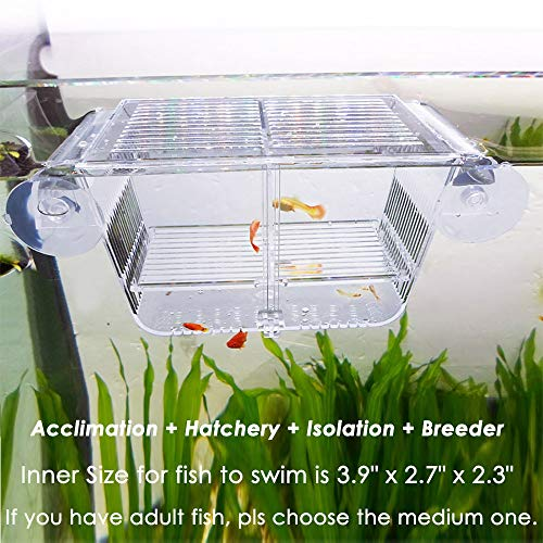 Capetsma Fish Breeding Box, Acrylic Fish Isolation Box with Suction Cups, Aquarium Acclimation Hatchery Incubator for Baby Fishes Shrimp Clownfish and Guppy. Small Size (S) - Fish Breeding Supplies