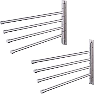 KES Towel Holder Swing Out Towel Bar SUS 304 Stainless Steel Bathroom Hand Towel Rack 4-Bar Folding Arm Swivel Hanger Wall Mount Brushed, 2 Pack, A2102S4-2-P2
