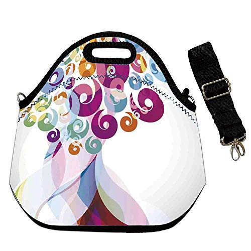 Modern Art Home Decor Custom Neoprene Lunch Bag,Digital Whirlwind Textured Vortex Concentric Spirals Fantastic Artwork for Lunch Trip Travel Work,With Shoulder Straps(12.6''L x 6.3''W x 12.6''H)