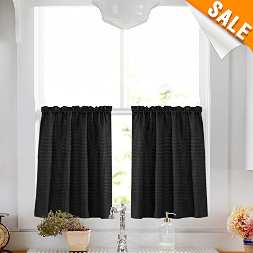 Lazzzy 24-inch Black Water Repellent Kitchen Tier Curtains Over Sink Cafe Curtains Waterproof Tiers Window Curtain Sets for Bathroom, Waffle Weave 2 Panels - Kitchen Tier Curtain