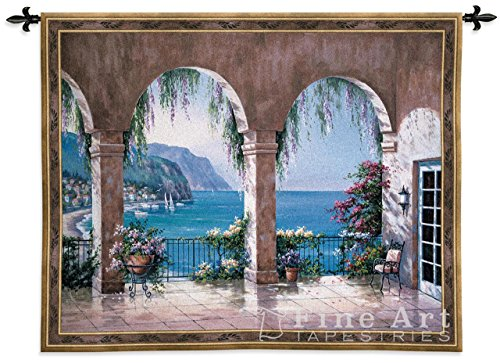 Mediterranean Arch by Sung Kim - Woven Tapestry Wall Art Hanging for Home Living Room & Office Decor - Italian Villa & Mediterranean Floral Seaside Scene - 100% Cotton - USA 42X53