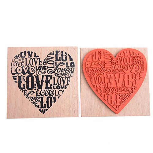 (EORTA Wooden Rubber Stamp Love Heart Shaped Blocks Wooden Rubber Craved Printing Stamp for Crafting DIY Scrapbooking Decor Valentine's Day Wedding Gift Card Making, Women/Men)