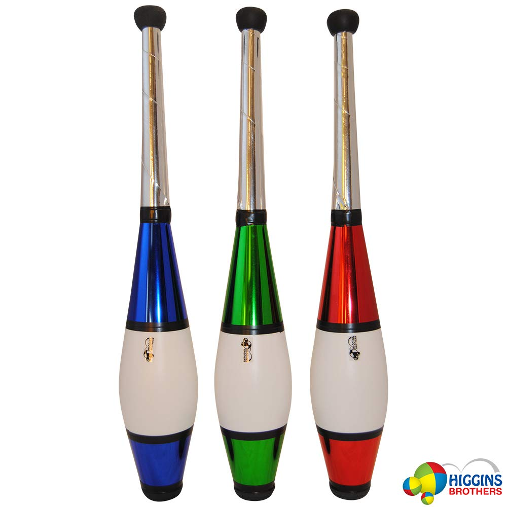 Higgins Brothers Zappa Juggling Club Set of 3 Blue, Red, Green Colors with Mesh Carry Bag