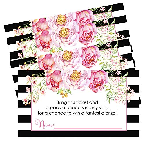 Girls Baby Shower Diaper Raffle Insert Cards (Set of 25 Games) Black Stripe and Floral