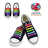 SENT CHARM No Tie Shoe Laces for Kids/Adults,16Pcs/pvc Silicone Rubber Tieless Elastic Slip Sneaker Shoelaces for Boots Board Shoes and Casual Shoes (Rainbow)
