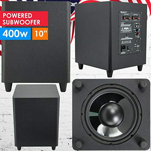 Gravity 10″ Down Fire Active Powered Subwoofer Home Theater Surround Sound 400W