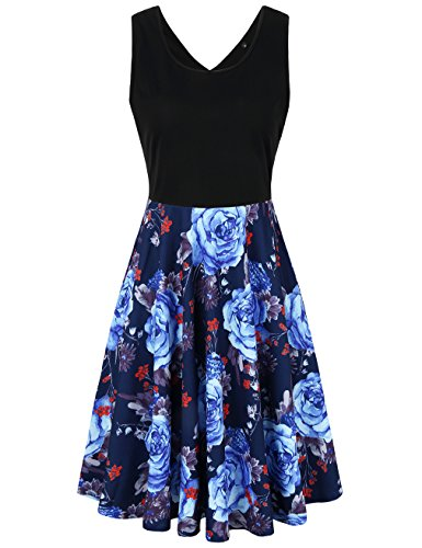 UXELY Lady Above Knee Length Sundress,Floral Scoop Neck Swing Dress,Black Blue M