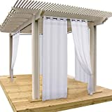 NICETOWN Pergola Drape Outdoor Curtain Panel Light Filtering Mildew Resistant Sheer Voile Curtain with Silver Grommet Top (1 Pack with Rope Tieback, 54 Inch Wide by 108 Inch Long, White) For Sale
