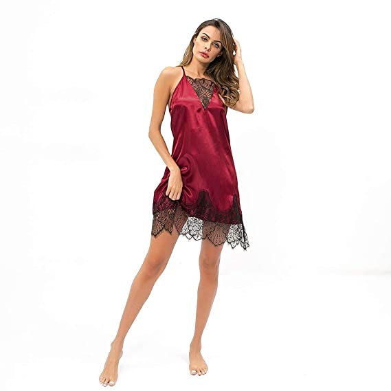 HebeTop◄Sleepwear Womens Chemise Nightgown Full Slip Lace Lounge Dress
