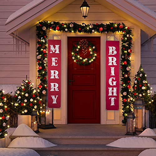 Merry Bright Christmas Banner for Christmas Decorations Outdoor Indoor,Merry Bright Porch Sign | Red Xmas Decor Banners (Christmas)]()