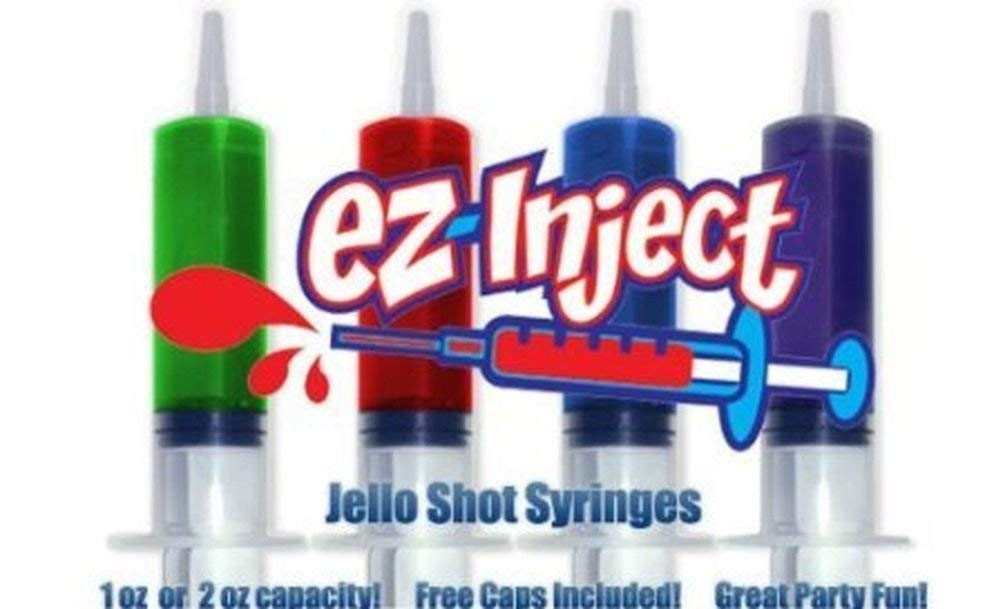 Jello Shot Syringes, Dishwasher-Safe Shot Shooters - Reusable Syringes for Holiday Parties and Ceremonies-Jello Shot Syringes by EZ-Inject(Includes one Assorted Jello Shot Mix) (1OZ (25 Pack))