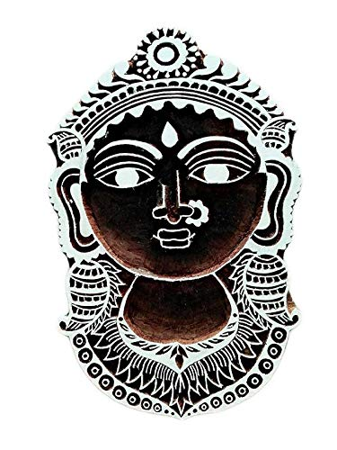 Lord Durga Face Carved Wooden Printing Block Stamp Print Textile Fabric Border