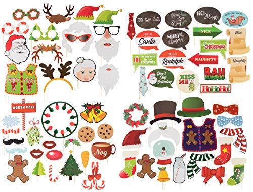 Christmas Photo Booth Props Set - 72-Pack Handheld Festive Photobooth Props, Sticks, and Adhesive Kit, Assorted Designs, DIY Holiday Party Supplies and Decorations ()