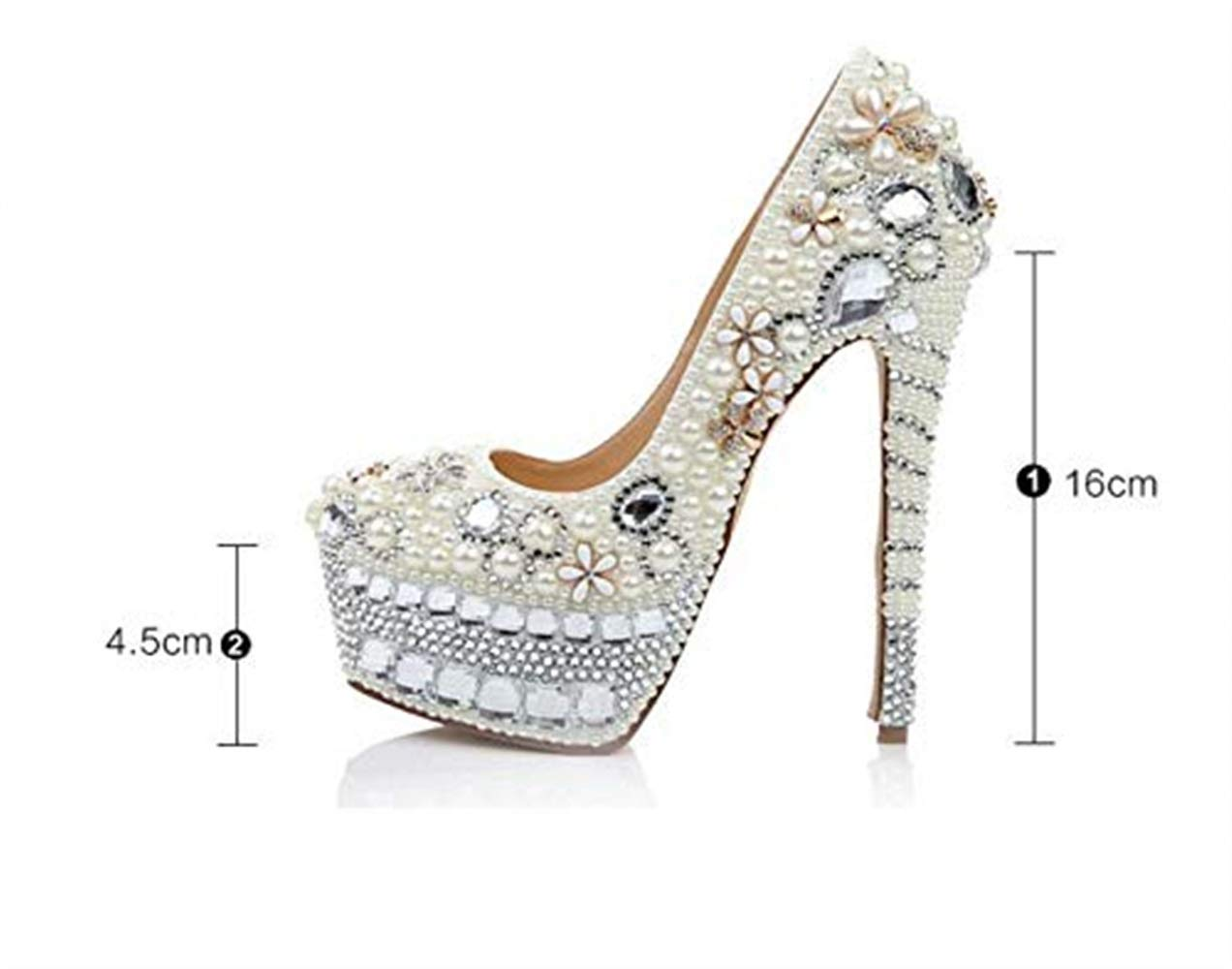 Moontang Dame Luxury Handmade Pearl High High High Heels Bridal hochwertige Kristallschuhe Sexy Night Club Wasserdichte Plattform Tanzschuhe 16cm (Farbe   Weiß Größe   4.5UK(Foot Length 24cm)) f01bd2