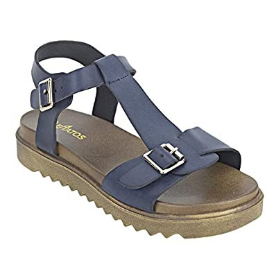 21f98d7935e1d5 ESTATOS Etashee Faux Leather Open Toe T Strap Buckle Closure Brown Platform  Heel Navy Blue Sandals for Women  Buy Online at Low Prices in India -  Amazon.in