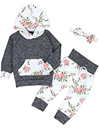 Christmas Baby Girls Florals Outfit Set Long Sleeve...