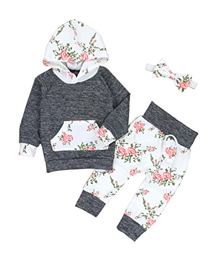 Oklady Christmas Baby Girls Florals Outfit Set Long Sleeve Hoodie Sweatshirt with Headbands(0-6 - Floral Christmas