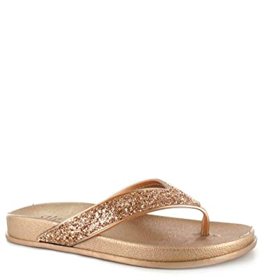 8986a78d5 Ladies Womens Ella Slip On Glitter Sparkly Flip Flops Rubber Footbed Toe  Post Thong Summer Sandals Beach Shoes Size (5 UK, Rose Gold): Amazon.co.uk:  Shoes & ...