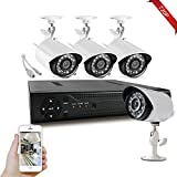 AHD Security Camera System, Hi-Tech 4CH 1080N Remote Accessible DVR with (4) 1.0MP IP66 Bullet Cameras with Night Vision, Motion Detection, Wall Mountable/Ceiling