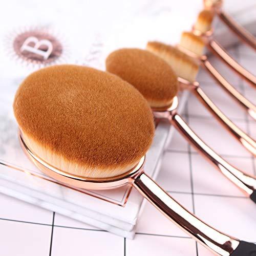 Makeup Brushes Set 10pcs Professional Oval Toothbrush Foundation Contour Powder Blush Concealer Eyeliner Blending Brush Cosmetic Make UP Brushes Tool Set
