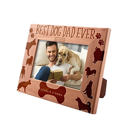 Personalized Picture Frame 4x6, Best Dog Dad Ever Custom Engraved with Names & Year - Dog Father Gift -1 (Photo Frame Dog)