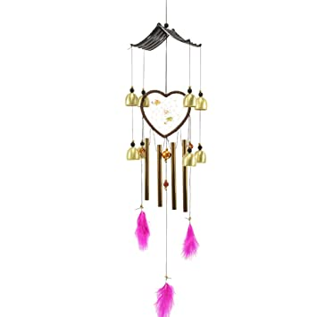 Amazoncom Fivtyily Heart Shaped Wind Chimes Metal Memorial Wind