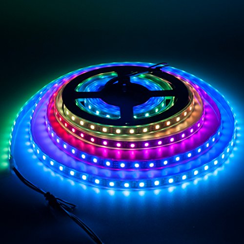 BTF-LIGHTING WS2811 5m 16.4ft 60LEDs/m 300LEDs Addressable Flexible LED Strip Dream Color IP67 Tube Waterproof DC12V Black (Programmable Lighting Control)