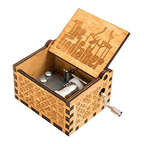 (INSHO Antique Carved Hand Cranking Theme The Godfather Mechanism Movement Wood Music Box for Home Decoration,Crafts,Toys,Gifts)