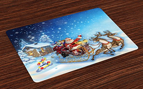 Ambesonne Christmas Place Mats Set of 4, Santa in Sleigh with Reindeer and Toys in Snowy North Pole Tale Fantasy Image, Washable Fabric Placemats for Dining Room Kitchen Table Decor, Night Blue