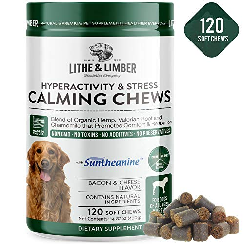 120 Chews New Developed Formula Calming Aid Chews for Dogs - Anti-Anxiety & Stress Relief with Suntheanine - Vet Developed Breakthrough Formula Promotes Comfort & Relaxation - Made in USA