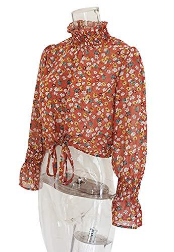 Sleeve Imprime Bandage Mode Shirts Rouge Printemps Court Flare Casual Chemisiers Blouse Automne Hauts Femmes Chemises avec Tops z17wnqXg