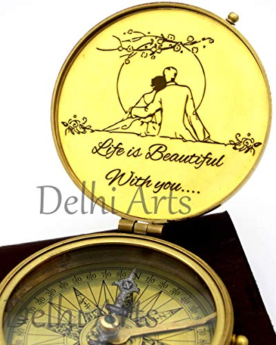 Delhi Arts i Carry Your Heart with me Poem Engraved Compass, Valentines Gift, Nautical Love Compass, Love Gift, Unusual Gift for Husband/Wife, him/her, Anniversary, Birthday