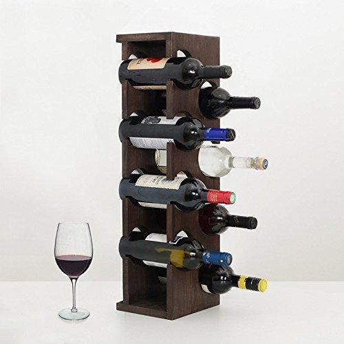 Woodymood Mountain Wine Rack, Wood Countertop Wine Rack, 8 Bottles, W:7.5'' L:6.5'' H:25'' (Dark Brown)