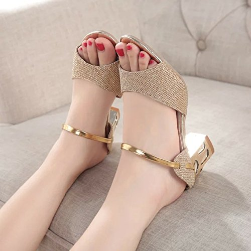 KHSKX-Boca De Pez Gruesos Zapatos Sandalias En Verano Moda Hembra Golden Todos Coinciden Con Una Mujer Coreana Golden Treinta Y Ocho Thirty-seven