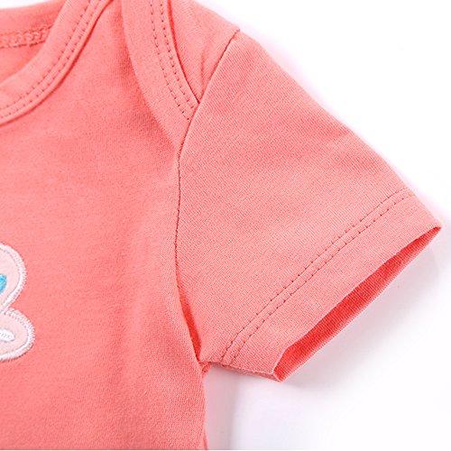 Decdeal Pack de 5 Bodies de Bebé Niñas de Manga Corta 73b97edd6d3