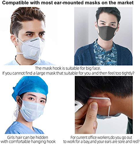 HXPEVER Silicone Mask Extender,Mask Hook Ear Strap/Saver,Anti-Slip/Anti-Tightening Ear Protector, Reducing Ear's Pain& Pressure for Adults and Kids