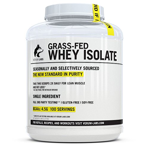 (Verum Labs Grass Fed Whey Protein Isolate: Undenatured and Cold-Processed, 0g Fat, <1g Carbs, 5lb, Non-GMO, Gluten and Soy Free)