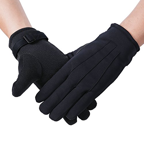 Deluxe Theatrical Gloves - JISEN Men Formal Tuxedo Honor Guard Parade Winter Wind-Resistant Polyester Gloves Black