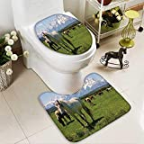 Muyindo Toilet carpet floor mat Equestrian Snow Idyllic MountaPeaks Arabian Horse 2 Piece Shower Mat set