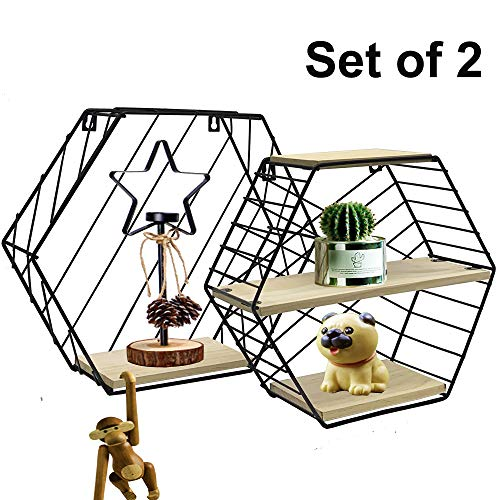 Reliancer Set of 2 Wall Mounted Shelves Metal Wire&Wooden Storage Shelves Decorative Hexagon Floating Display Racks Magazine Rack Record Holder Plant Flower Rack Wall Decor for Home Office Decoration
