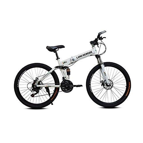 (Omeng Gift mountain bike/high carbon steel frame folding damping mountain bike adult bicycle(26'', 21 speed) (White, 26''))