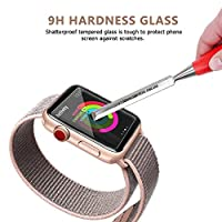 38mm Apple Watch Screen Protector, Celltronics 2-Pack Tempered Glass Screen Protector, Anti-Scratch Bubble Resistant 0.3mm Screen Film for 38mm iWatch Series 1/2/3 from Celltronics